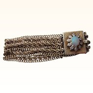 Beautiful  Vintage 14 kt. Gold Opal and Diamond Bracelet   C.1960