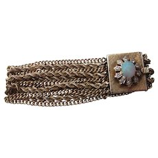 Beautiful  Vintage 14 kt. Gold Opal and Diamond Bracelet   C.1960