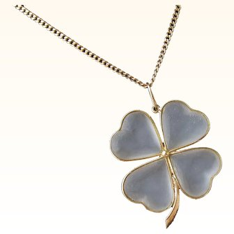 Antique Arts and Crafts 18 Kt. Gold Carved Rock Crystal Pendant/Necklace            C.1900