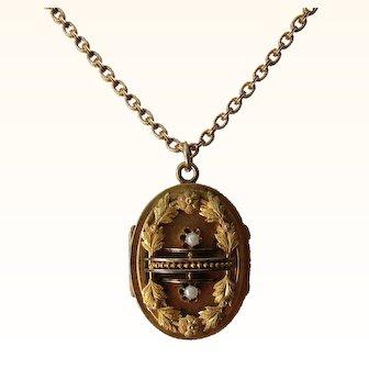 Antique Victorian  Capt. Civil War Mourning Necklace/Locket Tin Type    C. 186's RARE