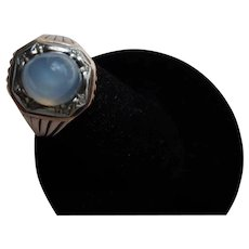 Antique  Victorian  Star Cabochon Sapphire 14 kt. Gold Ring   C. 1890