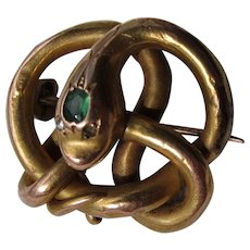 Antique Victorian 12 kt. Gold Snake with Emerald  and Diamond Brooch/Pendant  C.1860