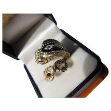 Vintage Art Deco 14 kt. gold Enamel Snake Ring
