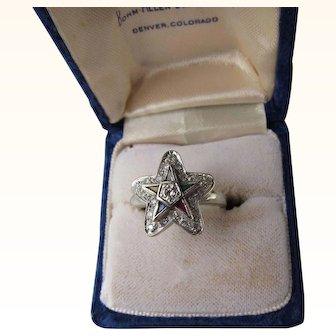 Antique Victorian 14 kt. Gold Diamonds  Eastern Star Freemason  Ring.   C. 1900