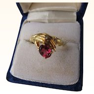 Vintage Art Deco Hand Motif 14 kt. Gold with Tourmaline     c.1930