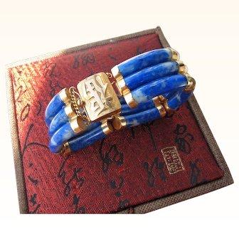 Vintage Chinese 14 kt. Gold Lapis Bracelet