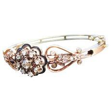 Antique Victorian 14 kt.  Rose Gold  Diamond  Bracelet        C.1860