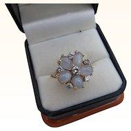 Beautiful Vintage 14 kt. Gold Moonstone & Diamonds Ring  C.1960