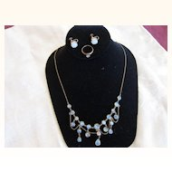 Beautiful Vintage 9 Kt. Gold Moonstone Necklace  with 18kt. Gold Earrings & Ring    C.1920