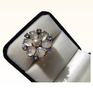 Beautiful Vintage  14 kt. Gold Moonstone & Sapphire Ring     c.1920