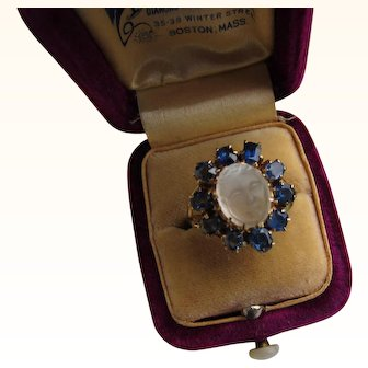 "Antique Victorian 15  kt. Gold Carved   "" Man in the Moon "" Moonstone with Sapphires     C. 1890 Rare  SOLD"