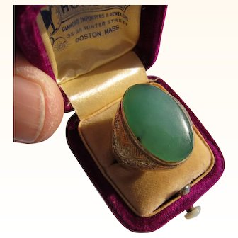 Antique Victorian Chinese 22 KT.Gold Apple Green Jade Ring