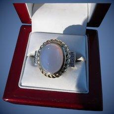Beautiful Vintage Designer 14 kt. gold Moonstone Ring  C.1960