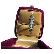 Antique Victorian 14 kt. Gold Diamonds and Opals Ring  C.1860
