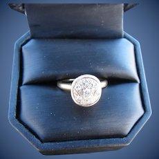 Vintage 14 kt. Gold Star Motif Pave Diamond Ring   C.1930