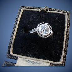 Antique   Edwardian  18 kt. Gold  Mine Cut Diamond Ring  Signed O.B.  C.1900