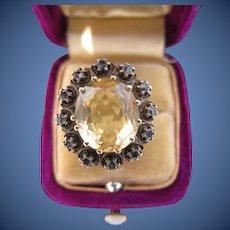 Antique Georgian Topaz & Diamond 18 kt. Gold Ring  C.1820
