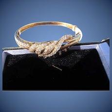 Beautiful Vintage 18 kt. Gold Diamond Snake Bracelet    C.1960