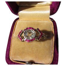 Antique French 18 kt. Gold Diamond and Rubies Ring  C.1900
