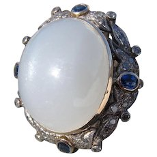 Antique Victorian 18 Kt. Gold Moonstone Diamonds Sapphires Ring  C.1910