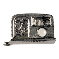 1930-40's Sterling Radio Charm with Boxer Stanhope Lens
