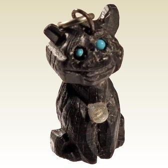 Victorian Carved Bog Oak Cat Charm with Stanhope Viewer Sheerness UK