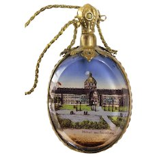 """Antique French """"Grand Tour"""" Perfume Scent Bottle / Vanity Mirror Necklace with Les Invalides Napoleon's Tomb Stanhope"""