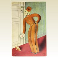 Rare Stanhope Squeaky Postcard Bellhop Spying through Keyhole