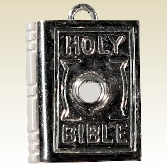 Wells Sterling Silver Holy Bible Charm Pendant with Lord's Prayer Stanhope