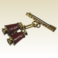 Stanhope Binocular Pin Brooch Gilt Tone & Embossed Red Leather Nice France