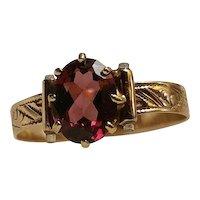 Victorian Rose Gold Garnet Ladies Ring Napoleon & Garibaldi Double Stanhope Rare & Unique