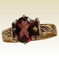 Victorian Rose Gold Garnet Ladies Ring Napoleon & Garibaldi Double Stanhope Rare & Unique