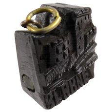 Victorian Carved Black Bog Oak 'Blarney Castle' Stanhope Charm Pendant Souvenir Antique