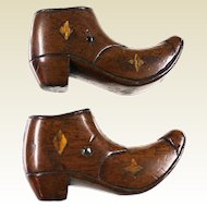 RARE 1906 Carved Wood Inlaid Victorian Style Stanhope Ladies Boot Shoe Pair Figural