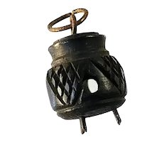 Victorian Bog Oak Cauldron Kettle Stanhope Charm Souvenir