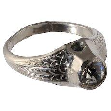 Rhinestone Man's Ring with Stanhope Nude Microphoto