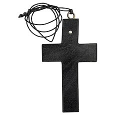 Large Black Wooden Stanhope Cross Pendant Necklace Lord's Prayer View