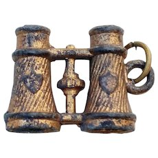 Antique French c.1890 Stanhope Binoculars Peep Charm Fob Risque Nude Victorian Erotic Naked Girl Photos
