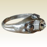 Stanhope Rhinestone Crystal Mans Ring with Secret Peephole View of Tart Rubenesque Female Nude