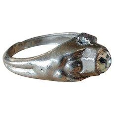 Stanhope Rhinestone Crystal Mans Ring with Secret Peephole View of Tart Rubenesque Female Nude