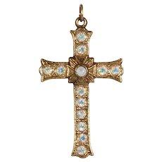 Vintage 1950's Aurora Borealis Crystal Lords Prayer Stanhope Cross
