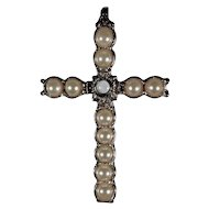 Sterling Silver Pearl Stanhope Lords Prayer Cross