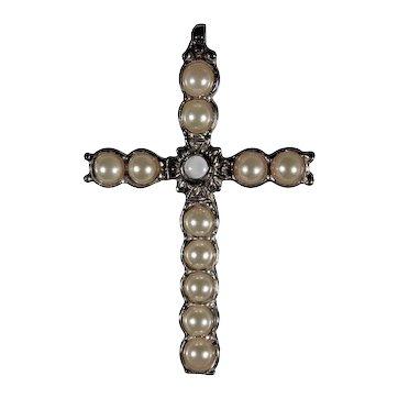 Sterling Silver Pearl Stanhope Lords Prayer Cross