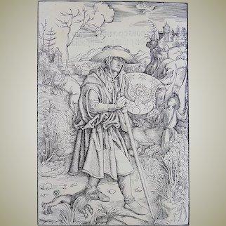 Albrecht Dürer (German, 1471–1528); Master Engraving - Gerson as Pilgrim