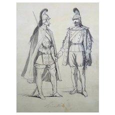 Peter von Hess (1792-1871); folder with 6 sketches of Bavarian Uniform, c1850