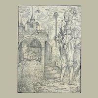 "Early 16th Century - Master Print - Monogrammist ""FIS"" - Dream of Nebuchadnezzar II, King of Babylon"
