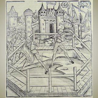 Master Woodcut from the 'Grüninger Meister' - The Final Duel Aeneid Turnus - 1502