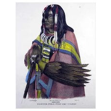 Karl Bodmer (1809-93) - Makuie-Poka American Indian - Hand coloured stone lithograph