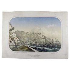 Louis Le Breton (1818-1866) - Sainte Helene. - Ville de Jamestown Island - Saint Helena - Tinted crayon style lithograph