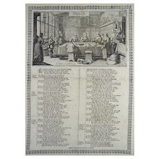 1668 Broadsheet - Conrad Meyer (1618–1689) - Tisch-Zucht - Broadsheet on Table Manners / Gastronomy - c 1670